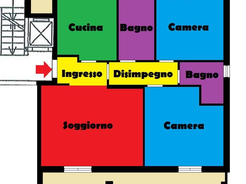 foto planimetria Trilocale ottimo stato, primo piano, Pescara