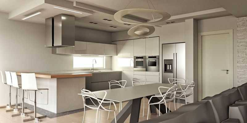 foto progetto-con-rendering-di-cucina-valcucine-a-berga Villetta a schiera 5 locali, buono stato, Montecchia di Crosara