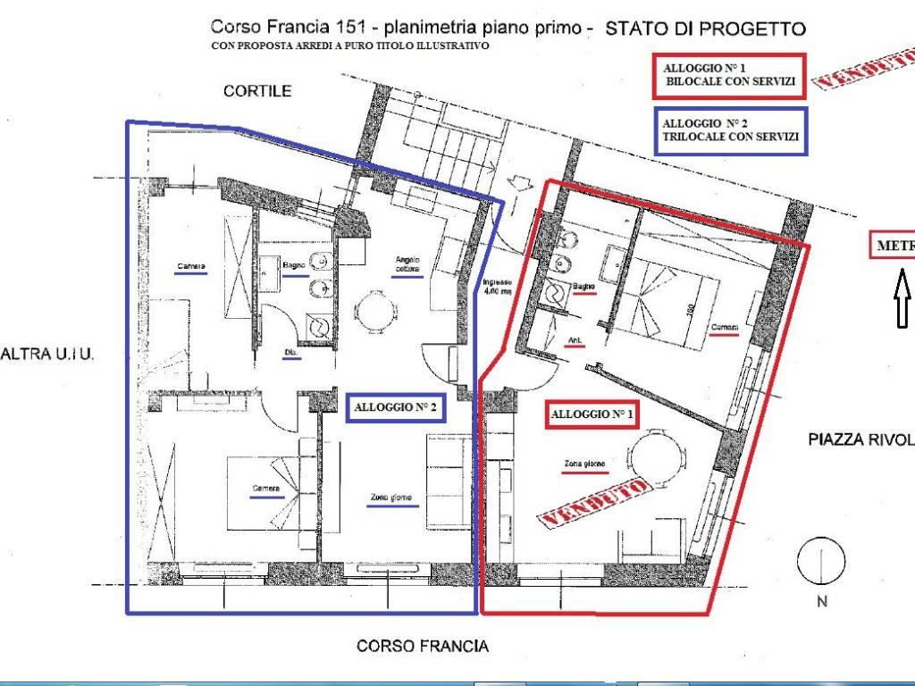 Progetto Appartamento 85 Mq vendita appartamento torino. bilocale in corso francia 151