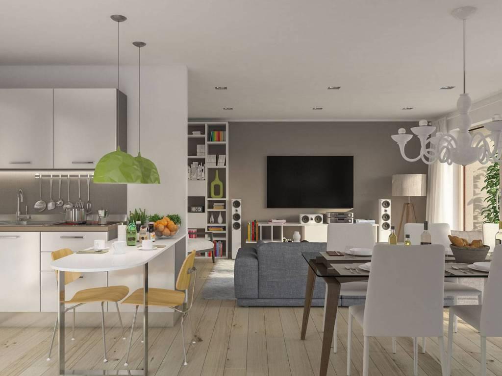 foto render soggiorno cucina Quadrilocale viale Verona, Fumane