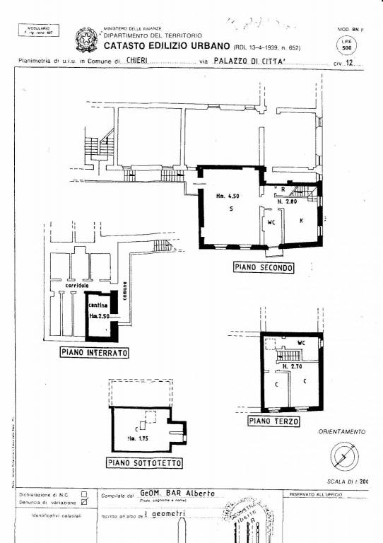 foto Planimetria Appartamento in Vendita a Chieri