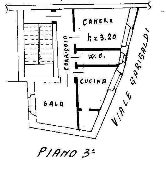 foto planimetria Bilocale via Giuseppe Garibaldi 5, Allumiere