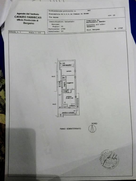 foto planimetria Trilocale via Bares, Gromo