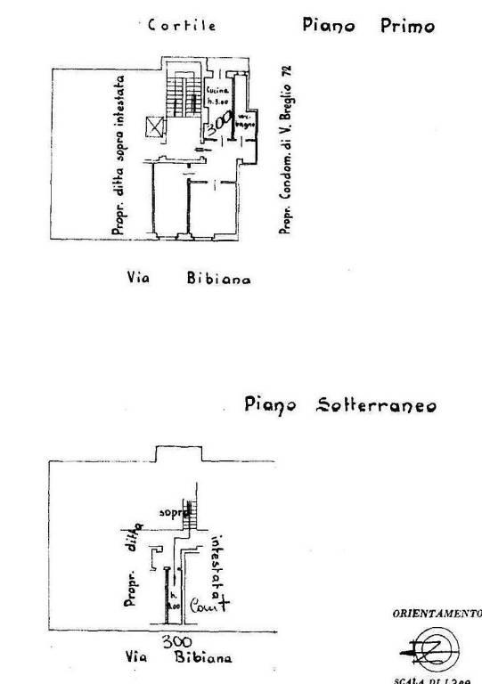 foto Planimetria Trilocale via Bibiana 66, Torino
