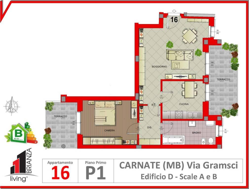 foto Planimetria Двухкомнатная квартира via Antonio Gramsci 9, Carnate