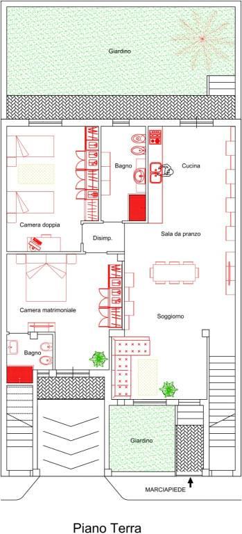 foto Pianta piano rialzato Appartamento via Enrico Toti, Oria