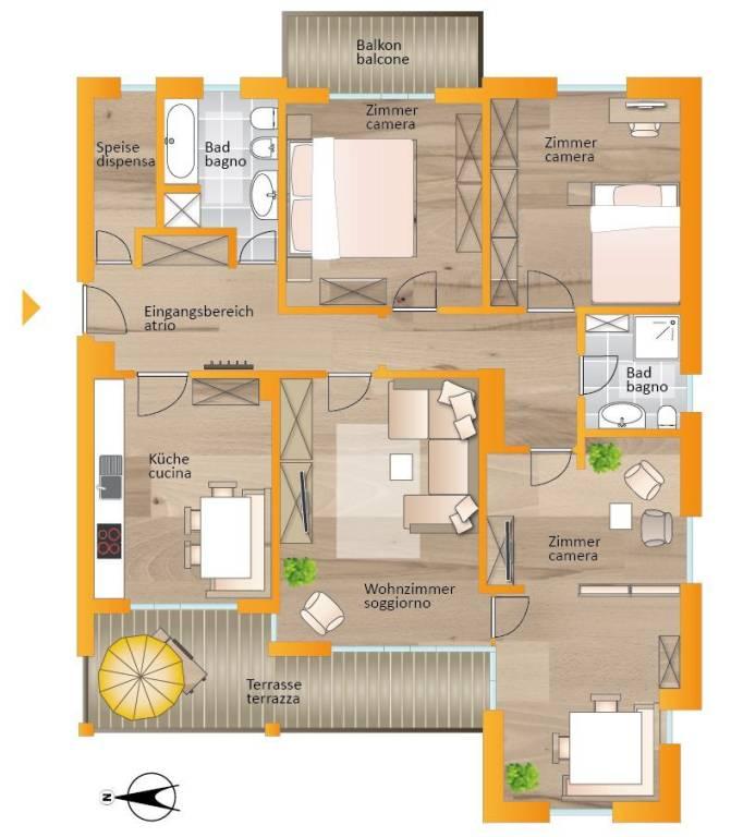 foto Planimetria 4-room flat via Goethe 5, Brunico