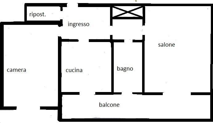 foto planimetria Bilocale via Altavilla Irpina 7, Roma