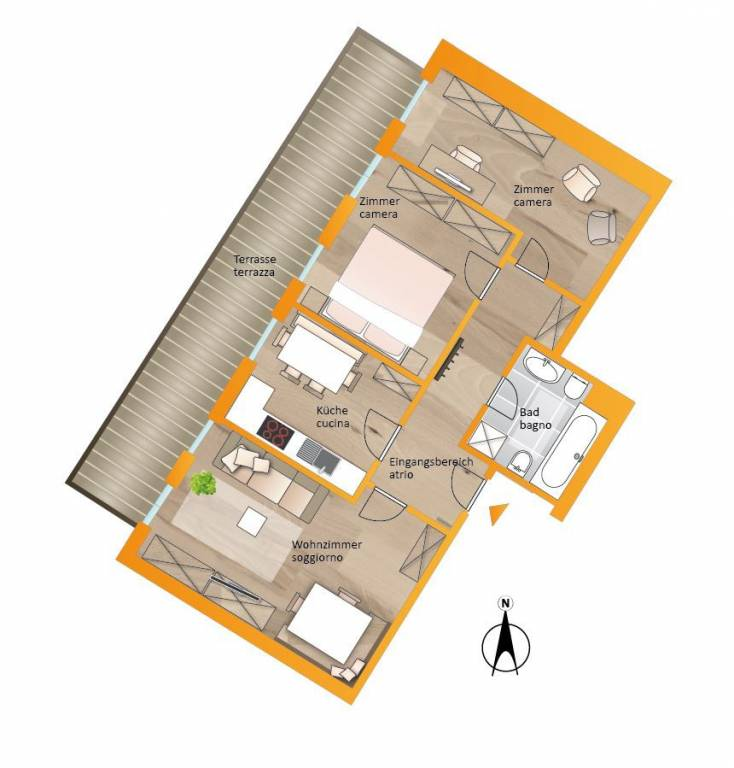 foto Planimetria 3-room flat Peter-Anich-Siedlung 12B, Brunico