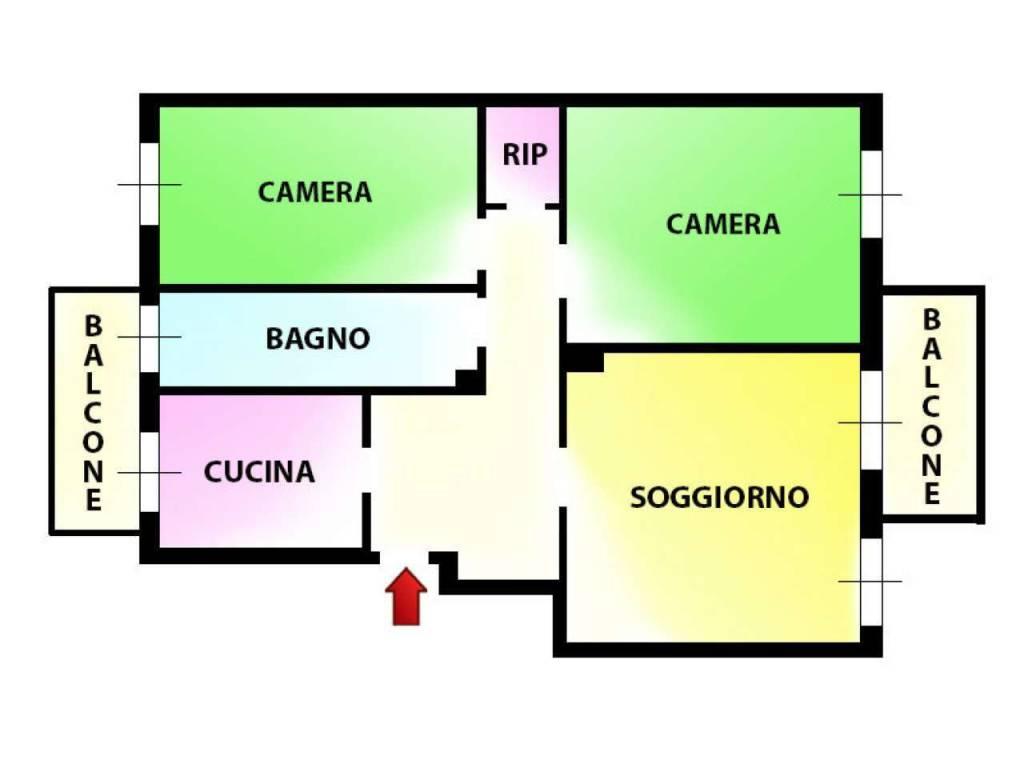 foto planimetria Trilocale via Concilio Vaticano Secondo, Milano