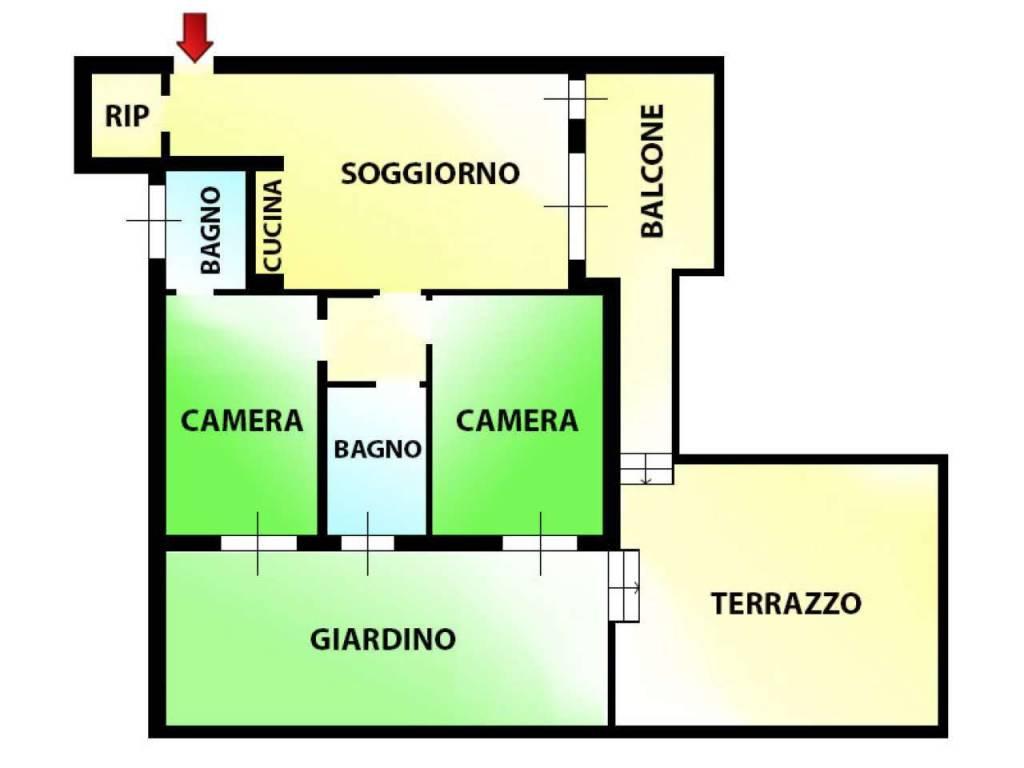 foto planimetria Trilocale via Sempione, Paderno Dugnano