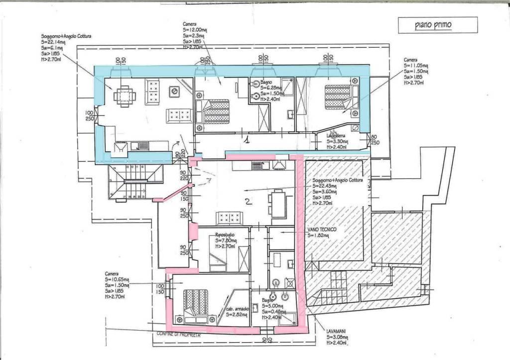 foto appartamento evidenziato in azzurro Trilocale via bianchi novello, 7, Villadossola