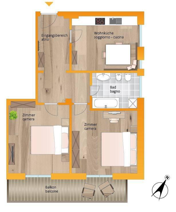 foto planimetria 3-room flat via San Lorenzo 29, Brunico