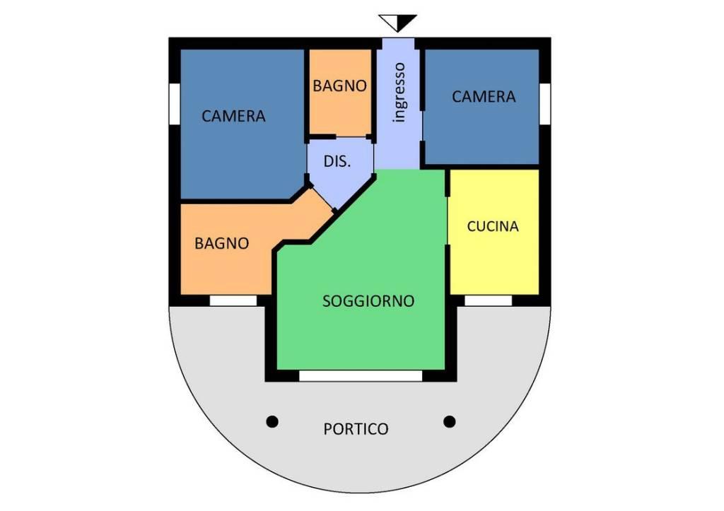 foto Pianta appartamento Trilocale ottimo stato, piano terra, Cantù