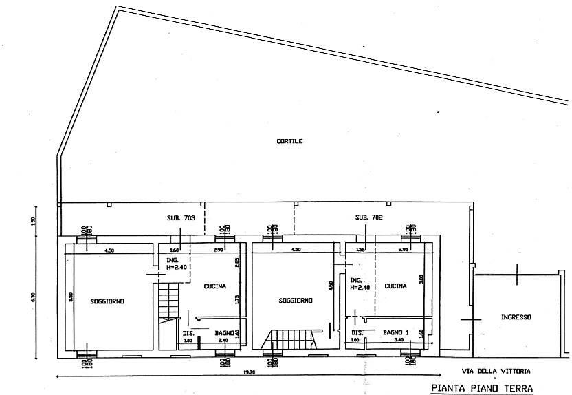 foto Planimetria piano terra Two-family villa via della Vittoria, San Giuliano Milanese