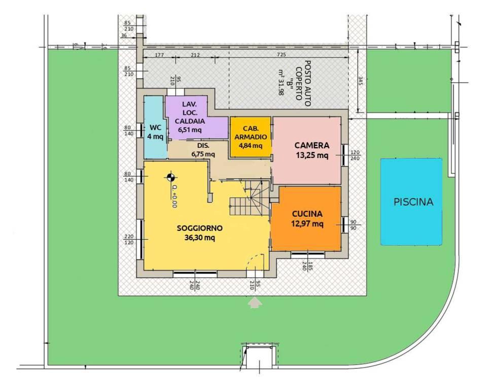 foto plani colorata pt Villa unifamiliare via Salvo D'acquisto, Appiano Gentile