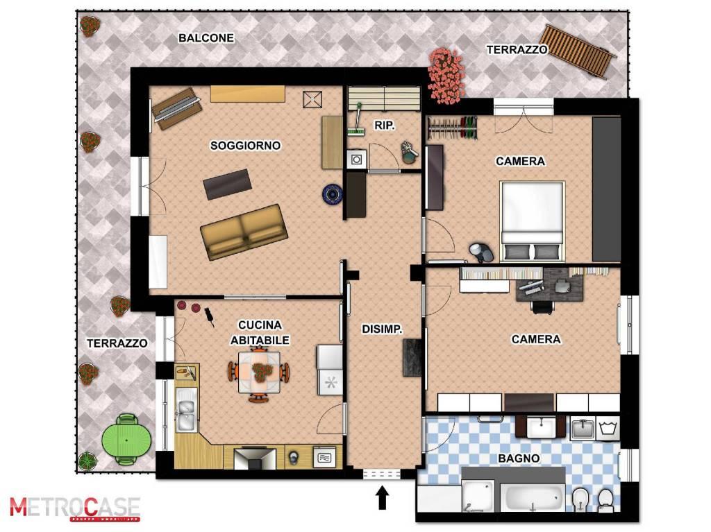 foto Planimetria 2D 4-room flat via delle Rose 11, Poirino