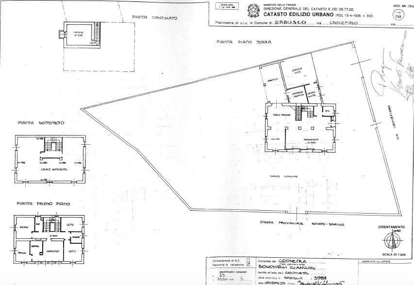 foto planimetria catastale Villa unifamiliare via Crocefisso 100, Erbusco