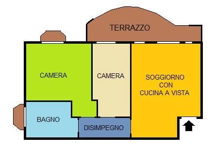 foto Planimetria Trilocale via San Carlo Borromeo 7, Muggiò