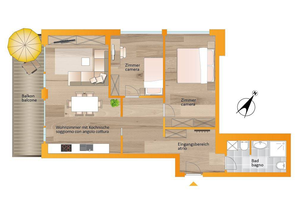 foto planimetria 3-room flat via Michael Pacher 5, Brunico