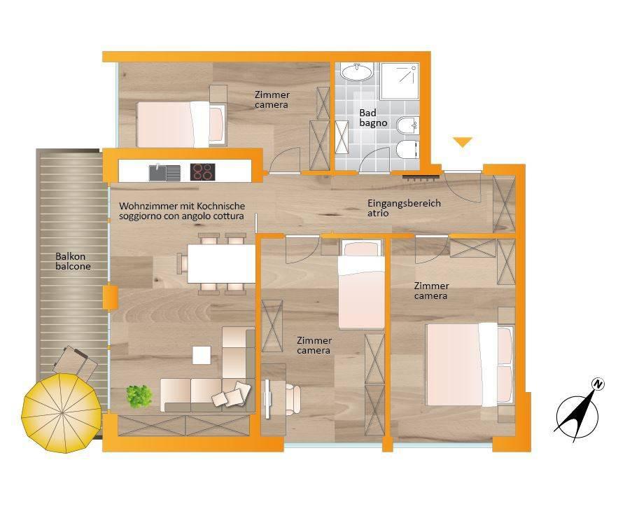 foto planimetria 4-room flat via Michael Pacher 5, Brunico