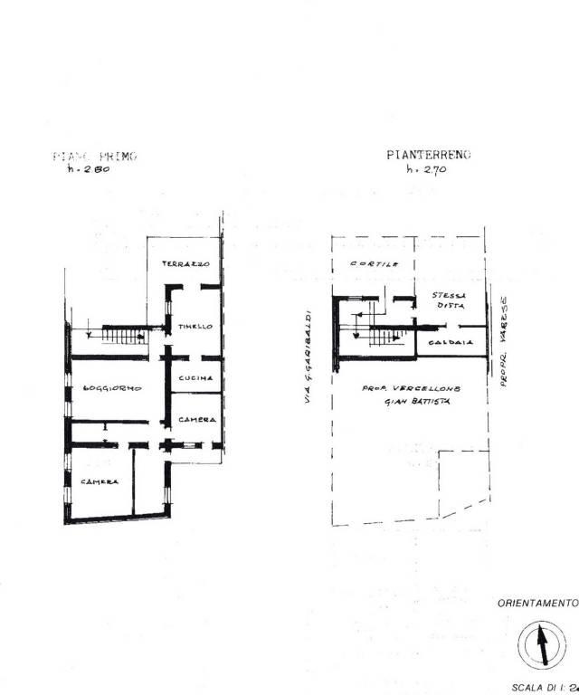 foto Planimetria primo piano Villa bifamiliare corso Giuseppe Garibaldi, Costanzana