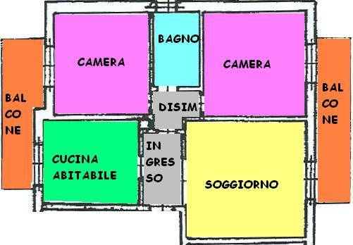 foto PLANIMETRIA Trilocale buono stato, piano rialzato, Castiglione d'Adda