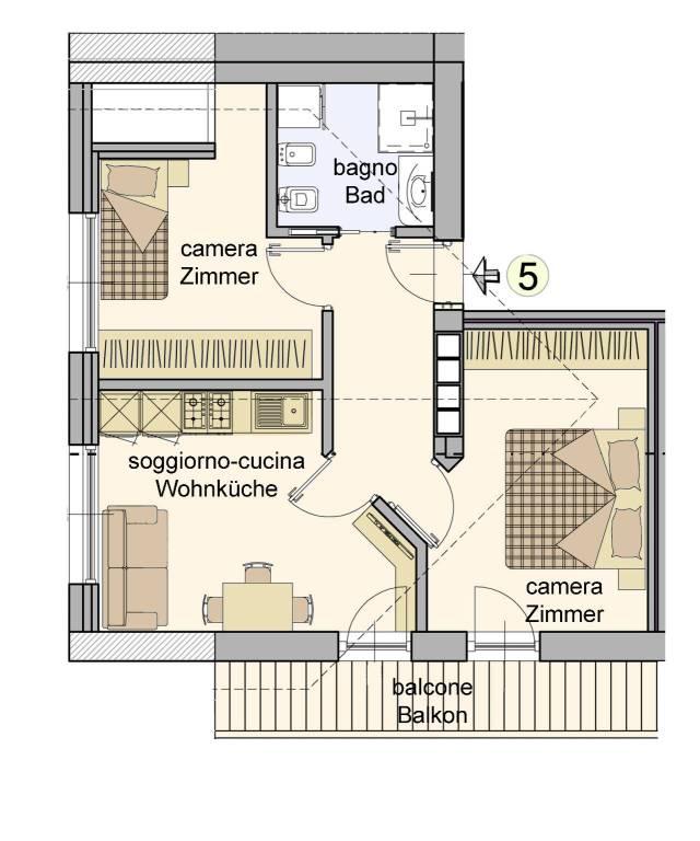 foto planimetria 3-room flat via Weiher 2, Villabassa