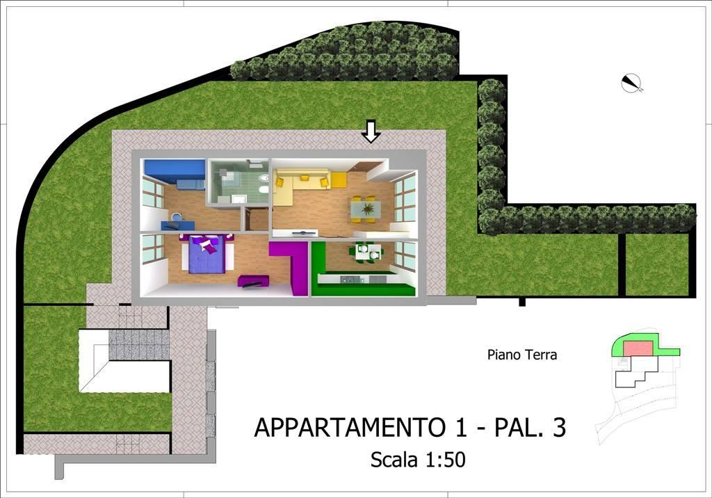 foto pianta Trilocale via Bezzecca, Oliveto Lario