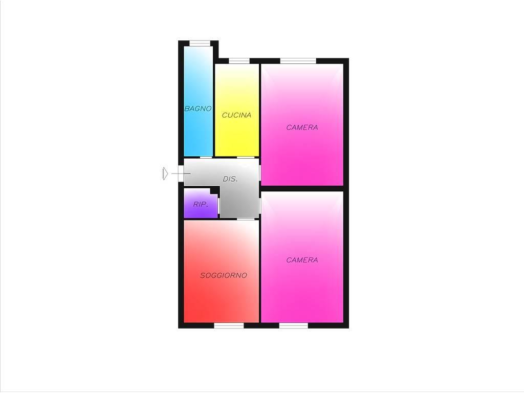foto Planimetria 3-room flat via Poliziano, Cesano Boscone