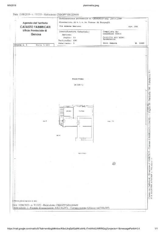 foto Planimetria 3-room flat via Aimone Martini 256, Bargagli
