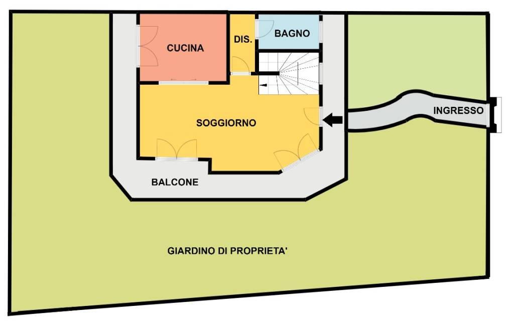 foto Planimetria zona giorno Terraced house via Dante Alighieri 7, Masate