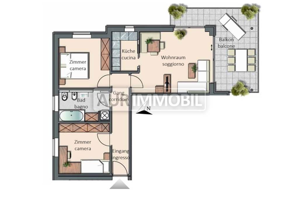 foto planimetria 3-room flat via Althing 35, Brunico
