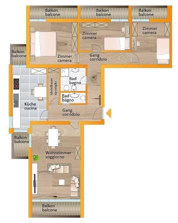 foto planimetria 4-room flat via Sole 4, Brunico