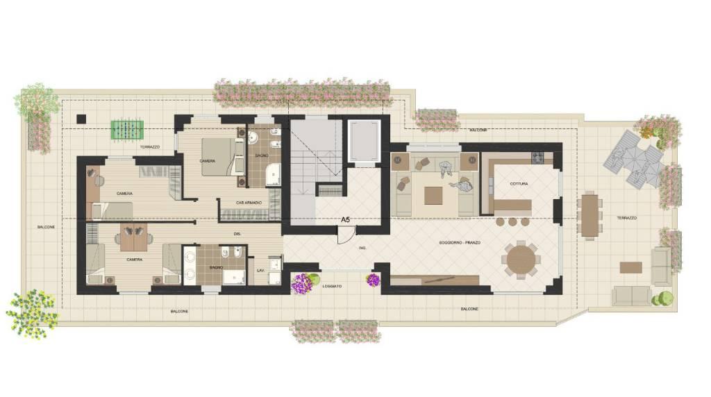 foto Planimetria app a5 4-room flat via Vecchia Comasina 20, Cesate