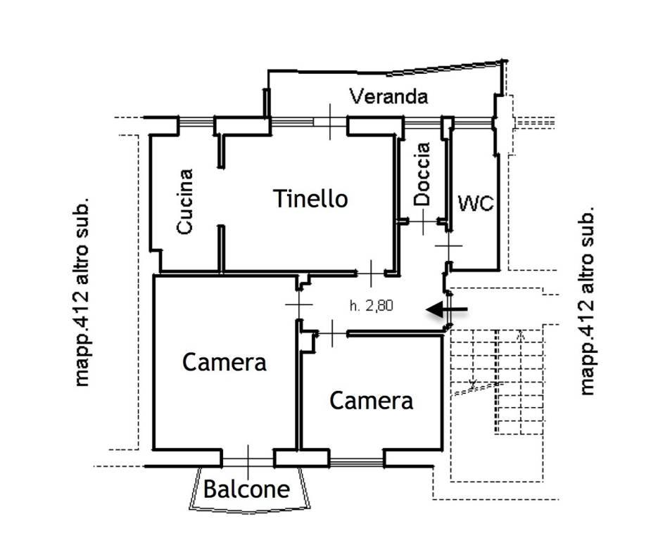 foto Planimetria Trilocale Villaggio Unrra 7, Boves