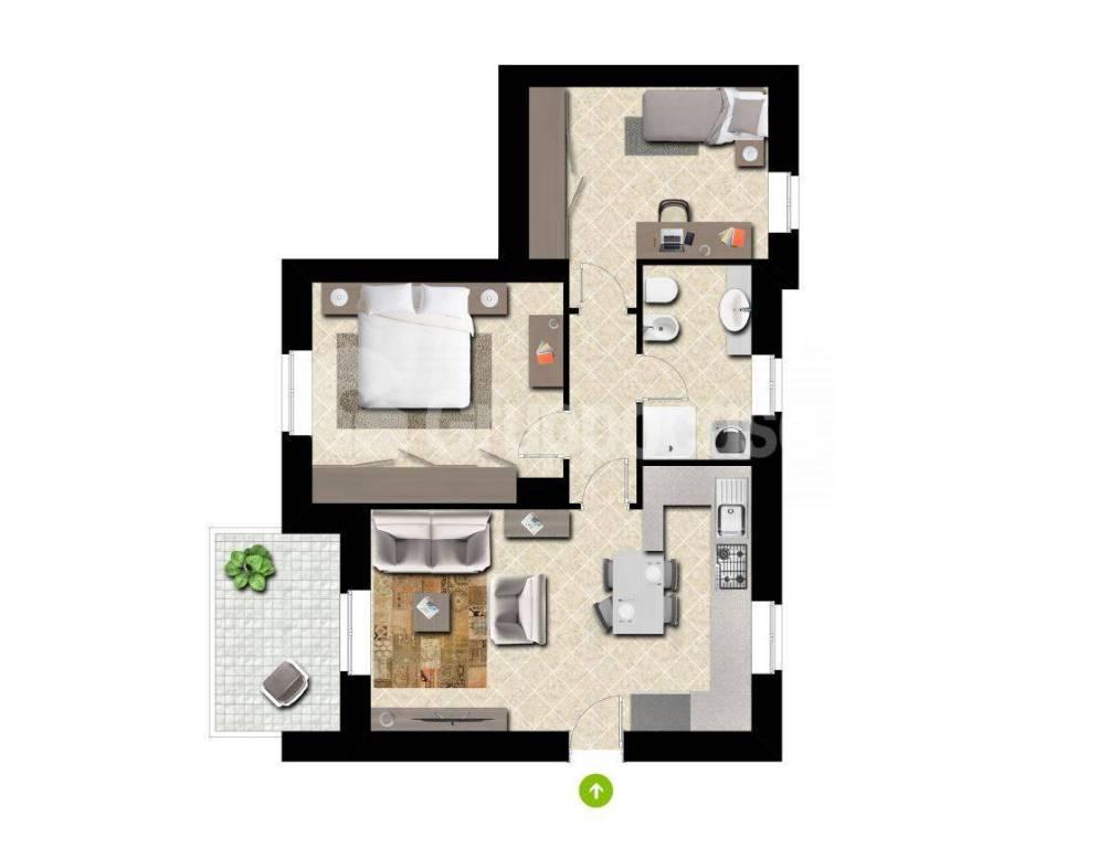 foto planimetria 3-room flat via Giuseppe Garibaldi, Boffalora Sopra Ticino
