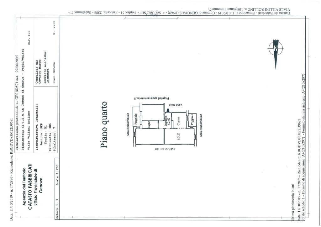 foto plan 4-room flat viale Villini Rollino 106, Genova