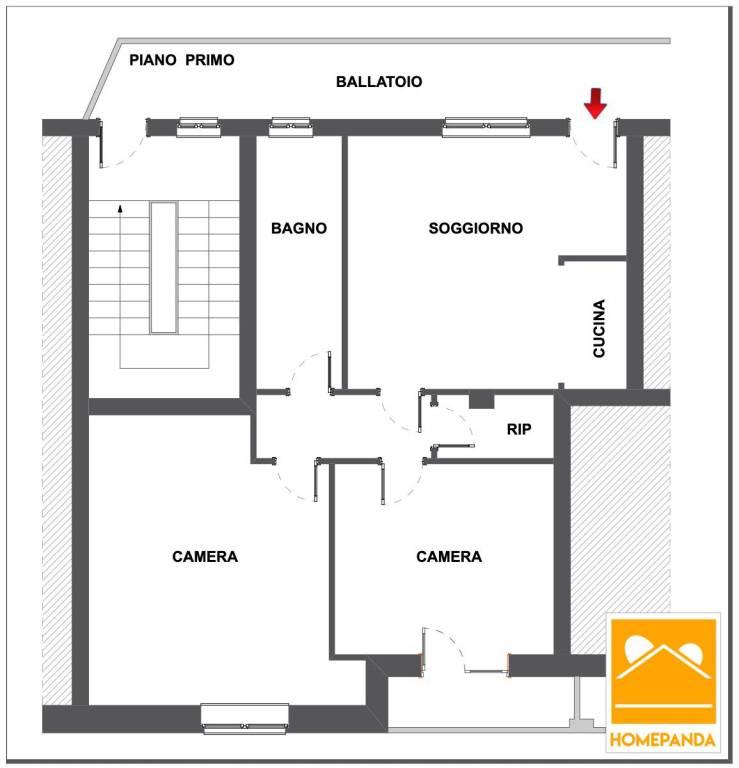 foto Planimetria 3-room flat via Roma 49, Cesano Boscone