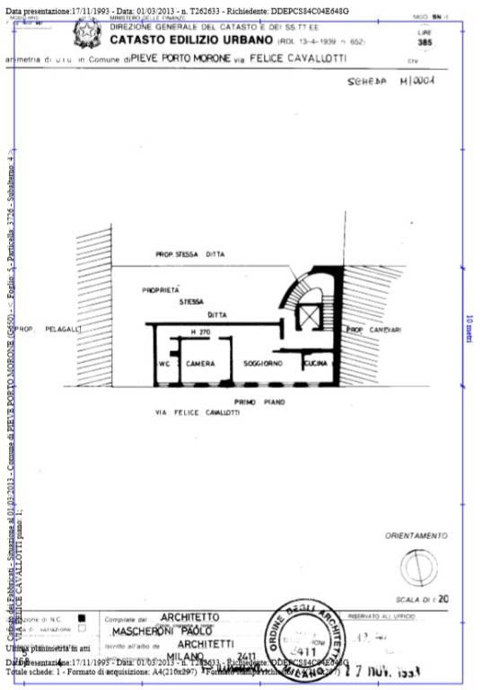 foto Planimetria P1 2-room flat via Felice Cavallotti 9-11, Pieve Porto Morone