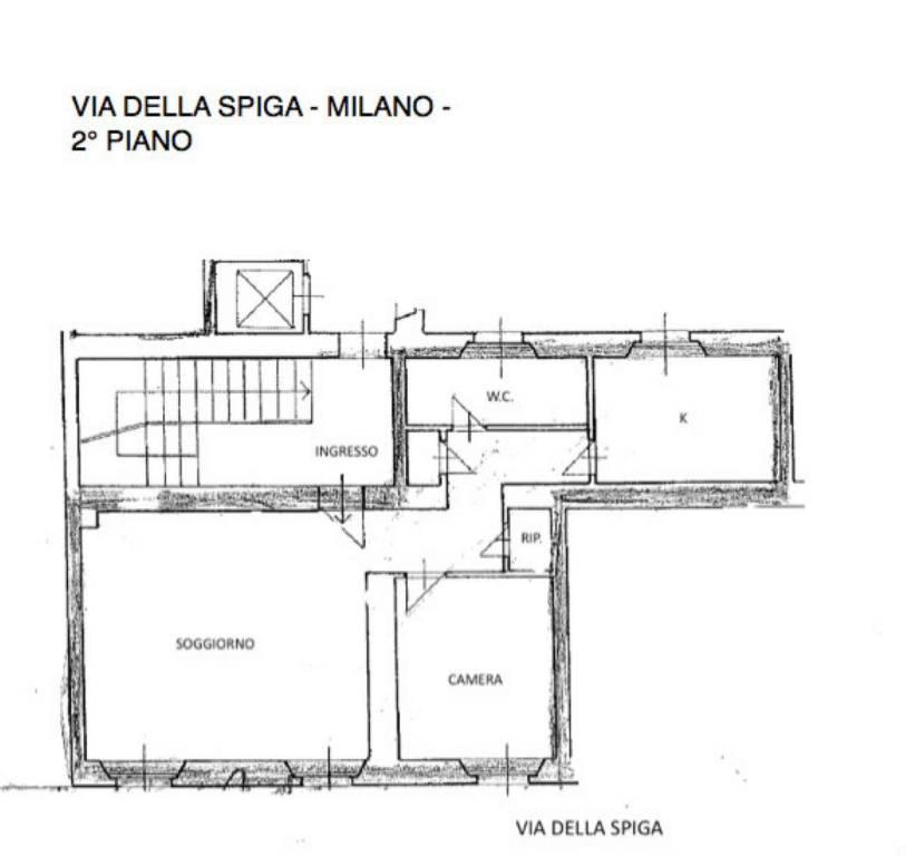 foto PLANIMETRIA 2-room flat via Della Spiga, Milano