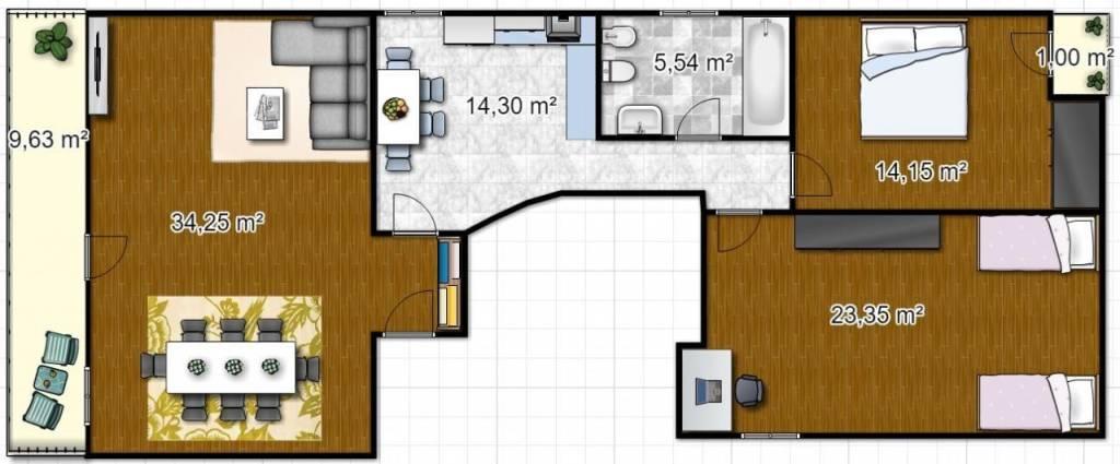 foto floorplanner Trilocale buono stato, Sover