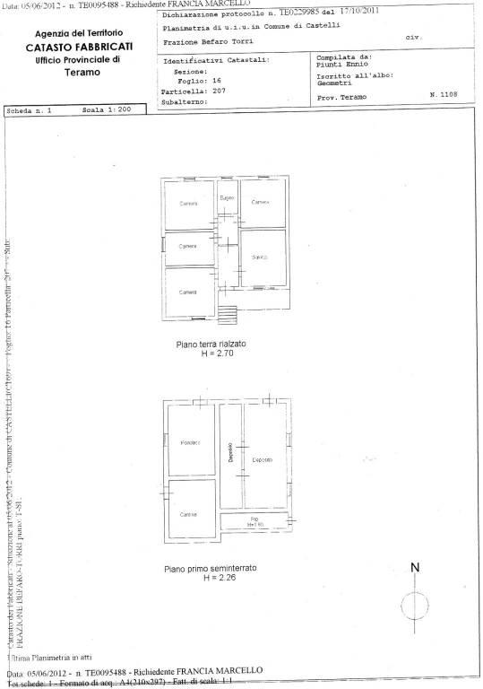 foto piantina Single-family townhouse frazione Befaro, Castelli