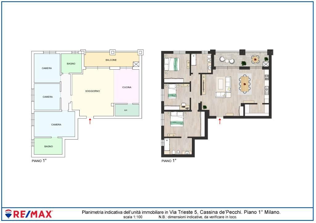 foto Planimetria 4-room flat via Trieste 5, Cassina de' Pecchi