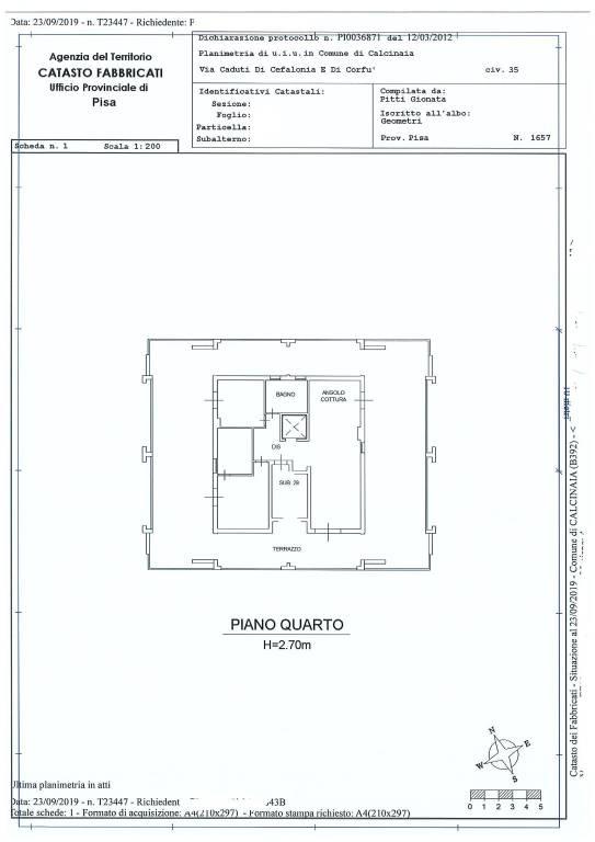 foto planimetria Appartamento Διαμέρισμα via Circonvallazione, Calcinaia
