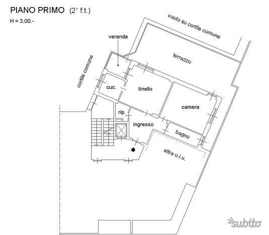 foto PLANIMETRIA Bilocale da ristrutturare, primo piano, Torino