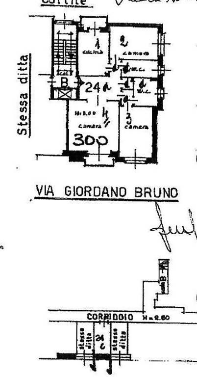 foto Planimetria Quadrilocale via Giordano Bruno 106, Torino
