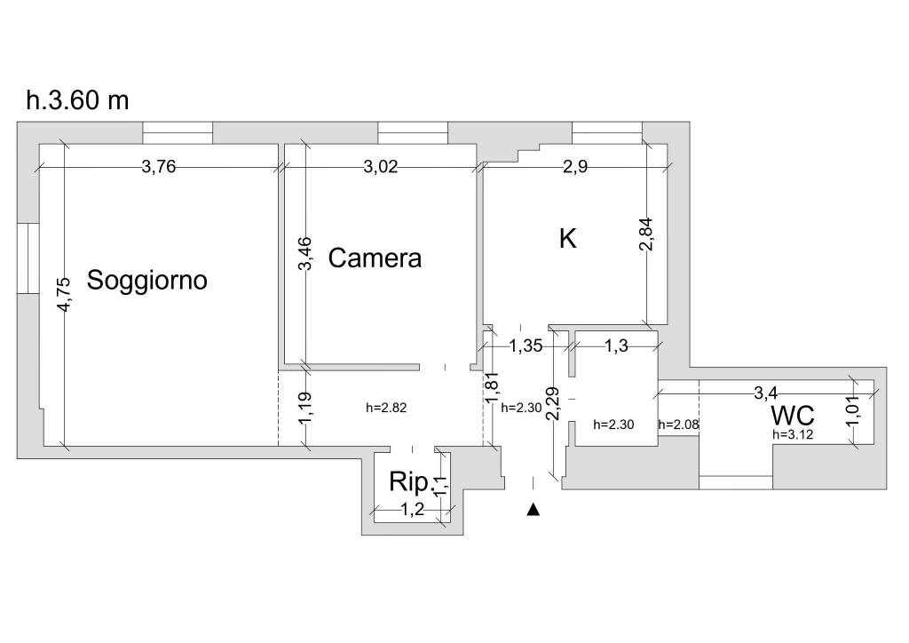 foto planimetria Двухкомнатная квартира piazza 5 Giornate 6, Milano