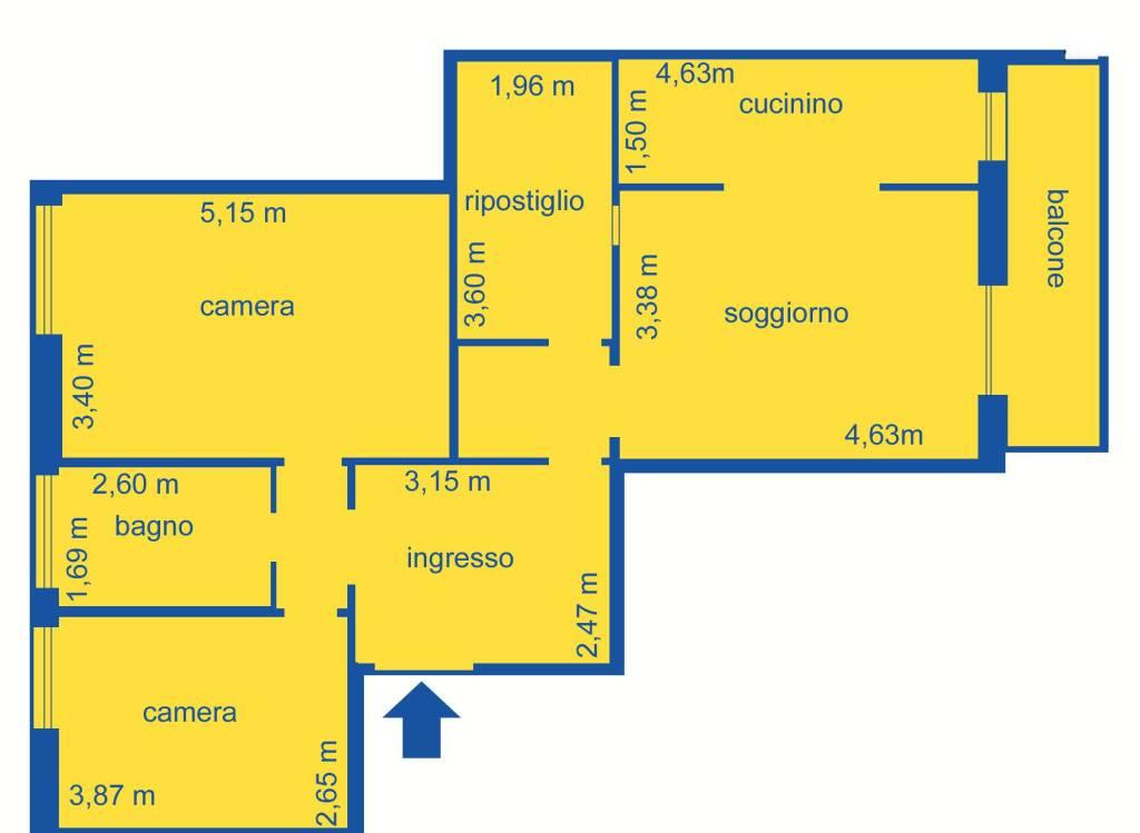 foto PLANIMETRIA 3-room flat via Tortona, Genova