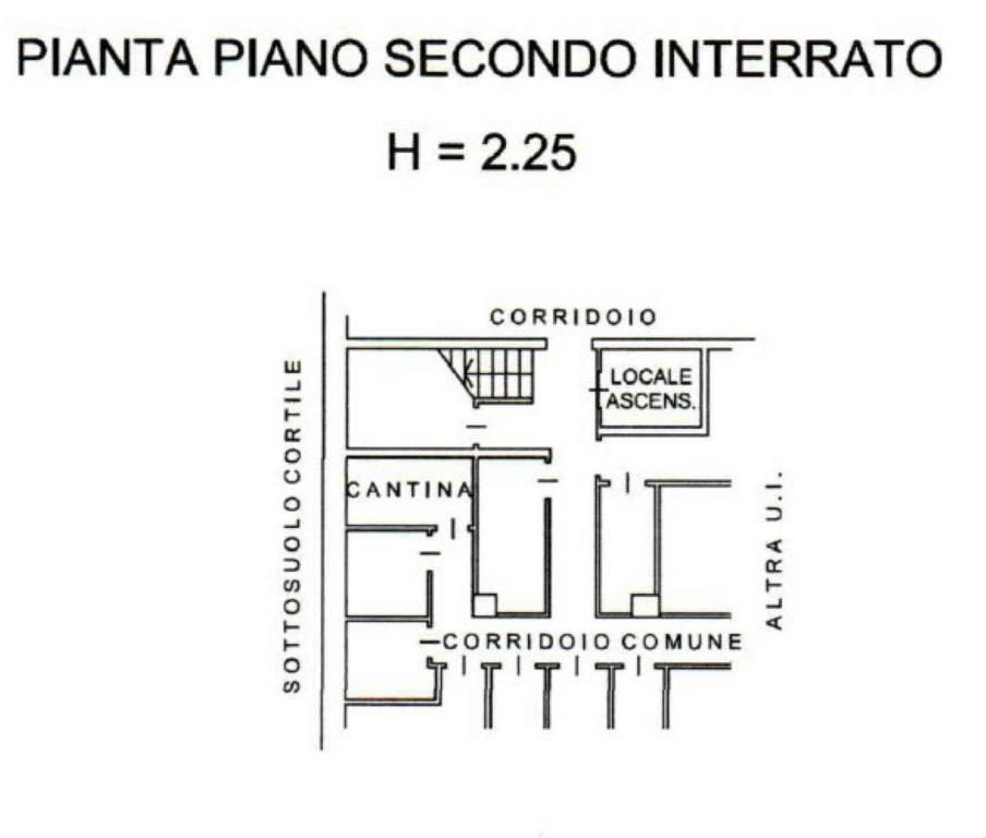 foto PLANIMETRIA CANTINA Trilocale piazza RIVOLI 7, Torino